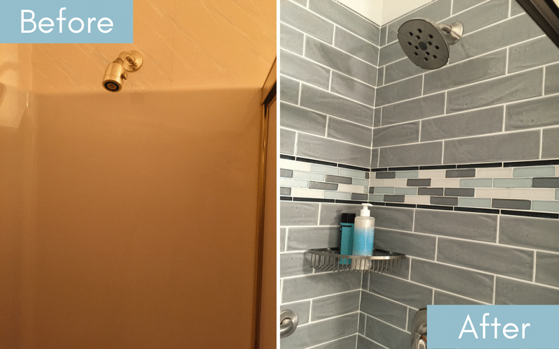 Before and after of a plain white shower next to a grey tiled shower with multi colored accent and white grout