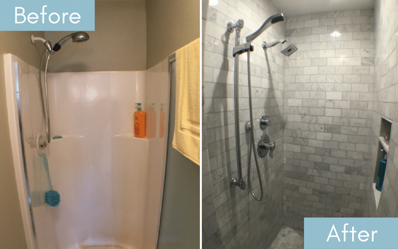 Before and after of a small white shower turned into one with grey, washed marble tiles in a brick pattern