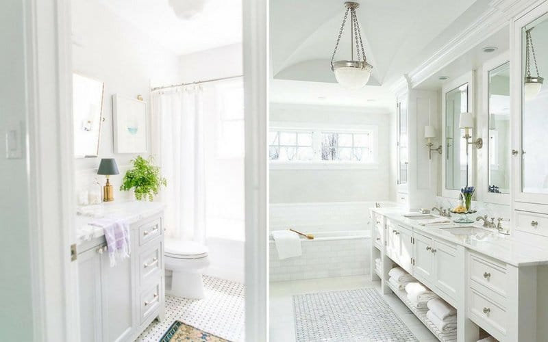 Two examples of all white bathrooms
