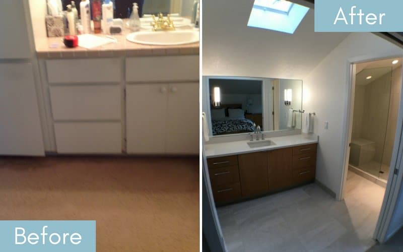 Before & after image of a bathroom with minimal lighting, and one with a skylight added