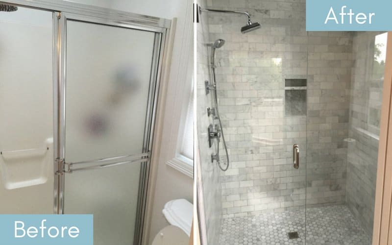 Side by side image of a shower with frosted glass doors and one with clear glass doors