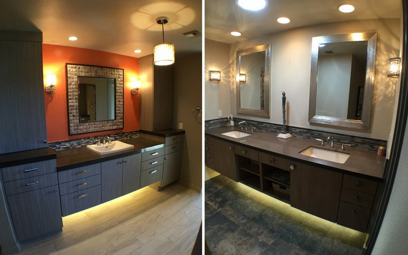 Side by side image of two vanities with lighting on the immediate sides, and with spread out lighting.