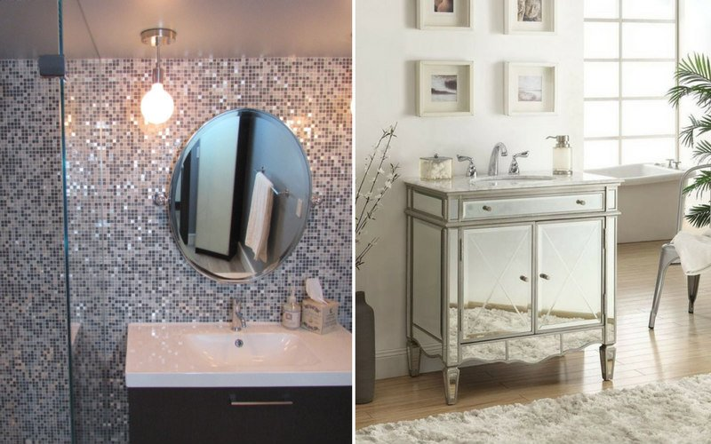 Side by side of a bathroom with a large mirror, and one without one.