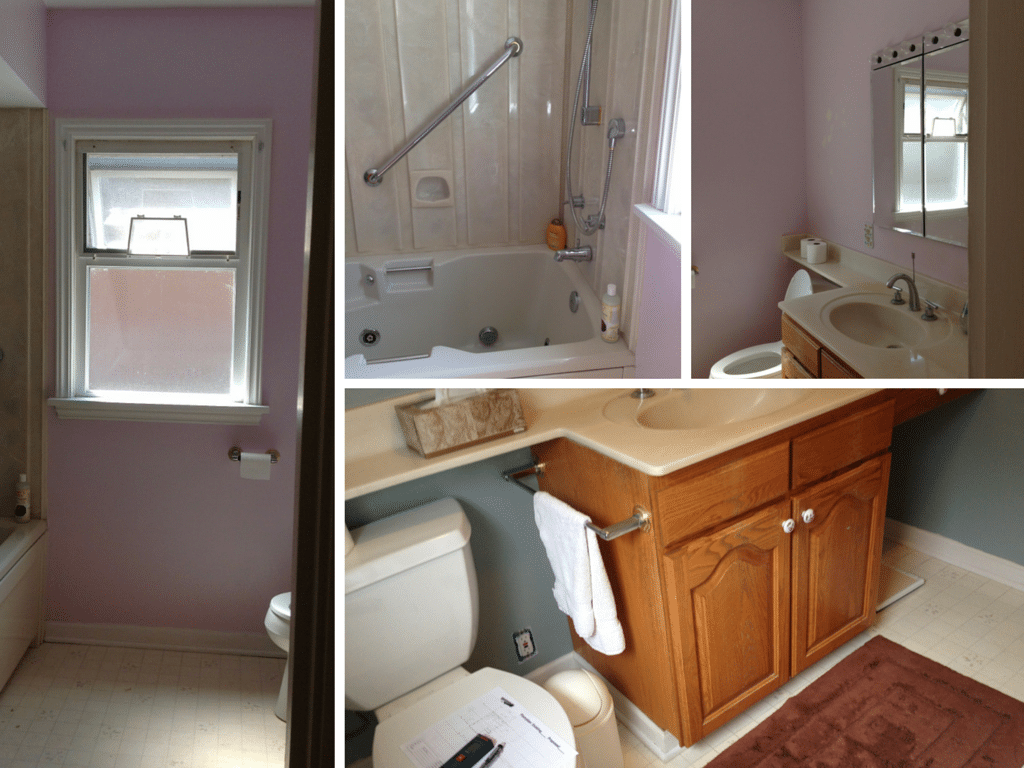 Four shots of lavender bathroom walls, with a small shower and single vanity with wood cabinetry