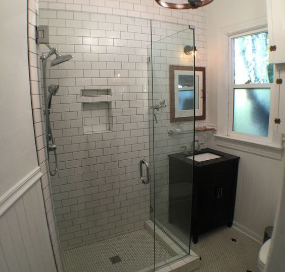 Small bathroom remodel with subway tile