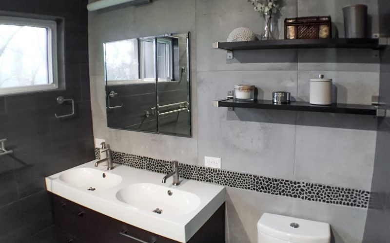 Dark And Cool Master Bathroom