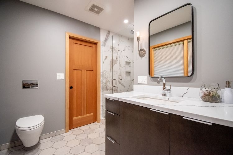 Portland master bath remodel with reconfigured layout