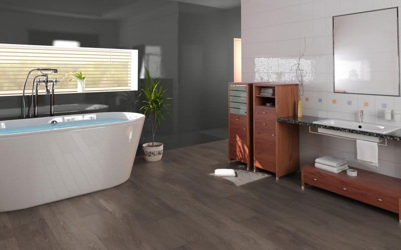 Bathroom with dark grey, wood stain patterned tile
