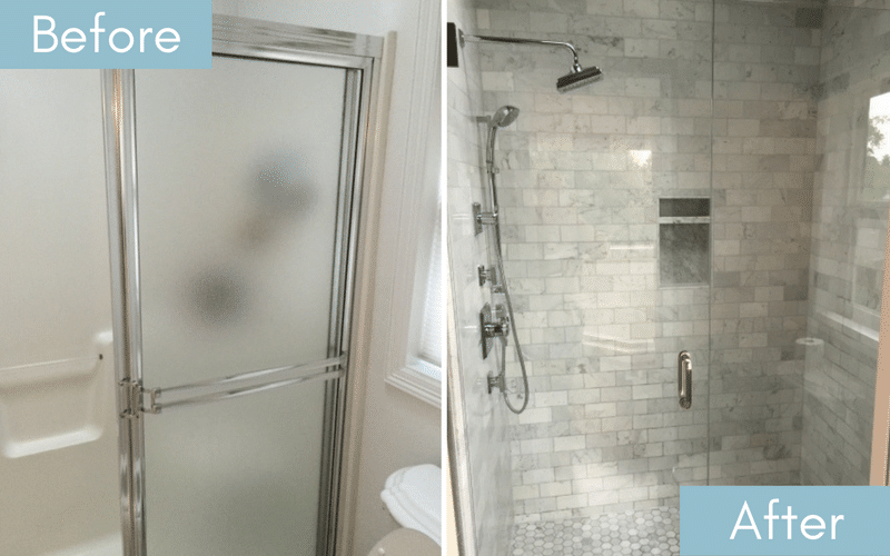 Before and after of a bathroom with frosted glass doors and one with clear glass doors