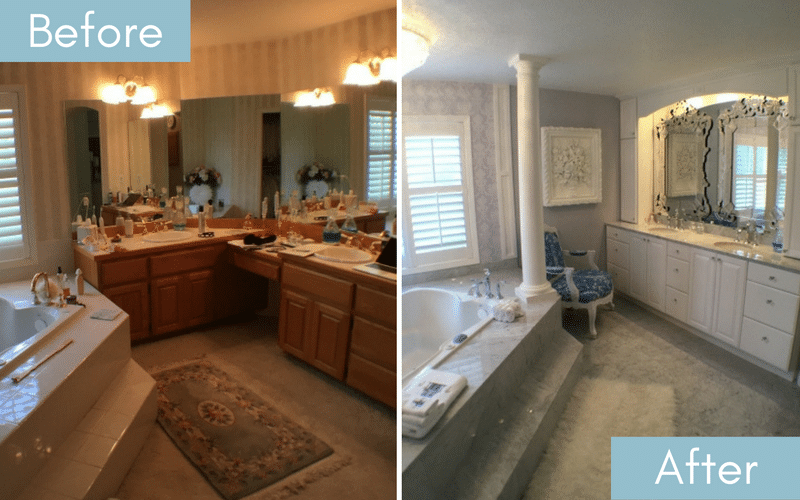 Before and after of a poorly lit bathroom and one with brighter lighting, and white tile, cabinetry and walls
