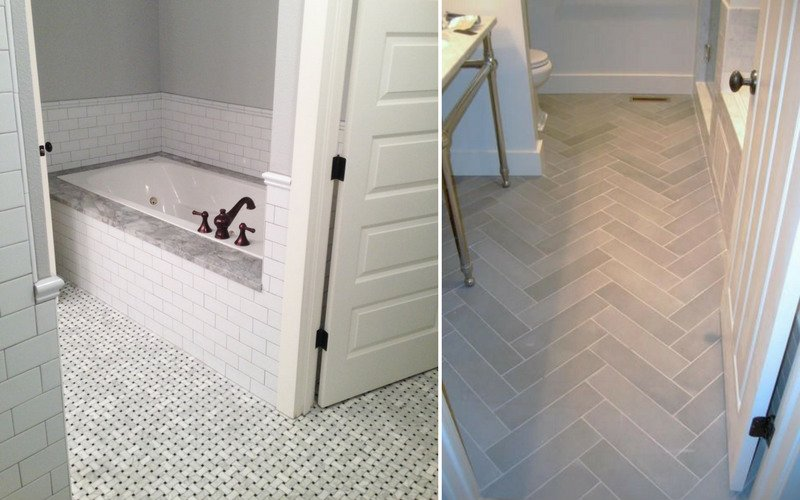 Two examples of bathroom floors with ornate tile designs, one is basket weave and the other is herringbone