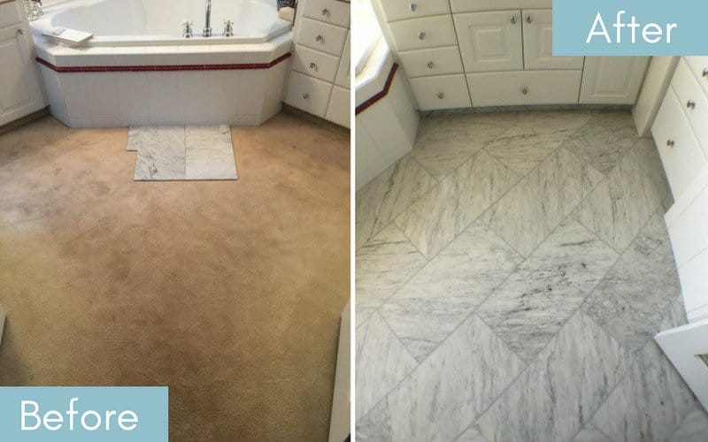 Flooring before & after from brown carpet to white marble.