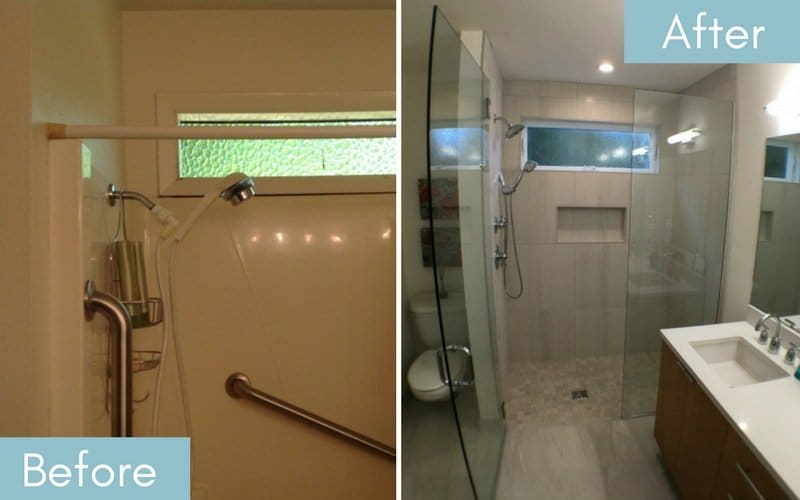 Shower before & after with new floor to ceiling tile and clear glass doors.
