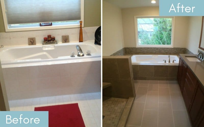 Before and after showing updated fixtures and tiling on the bath tub.