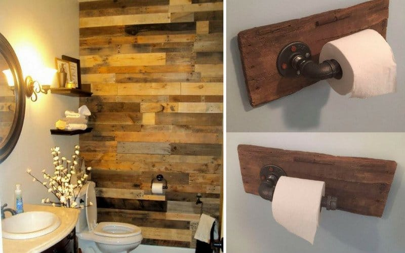 A bathroom wall made of reclaimed wood and a toilet paper holder made of reclaimed wood