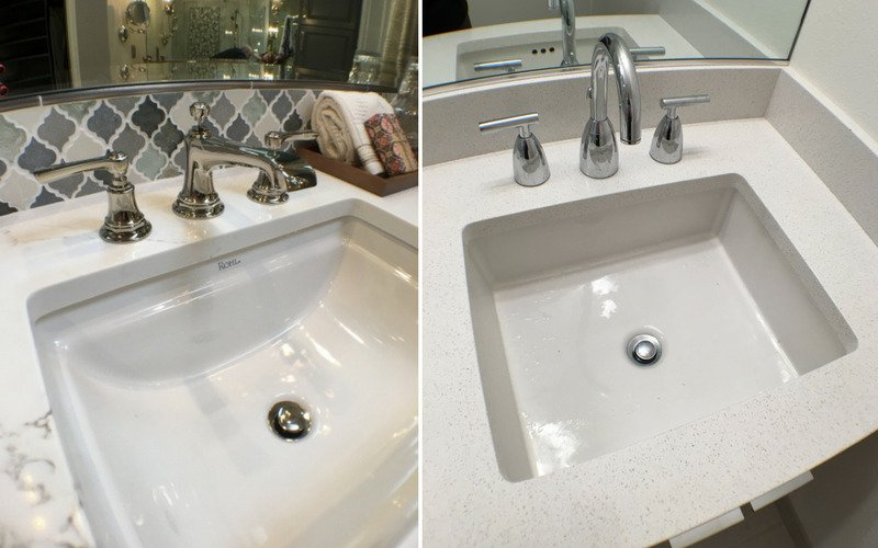 Two bathroom sinks with widespread faucets