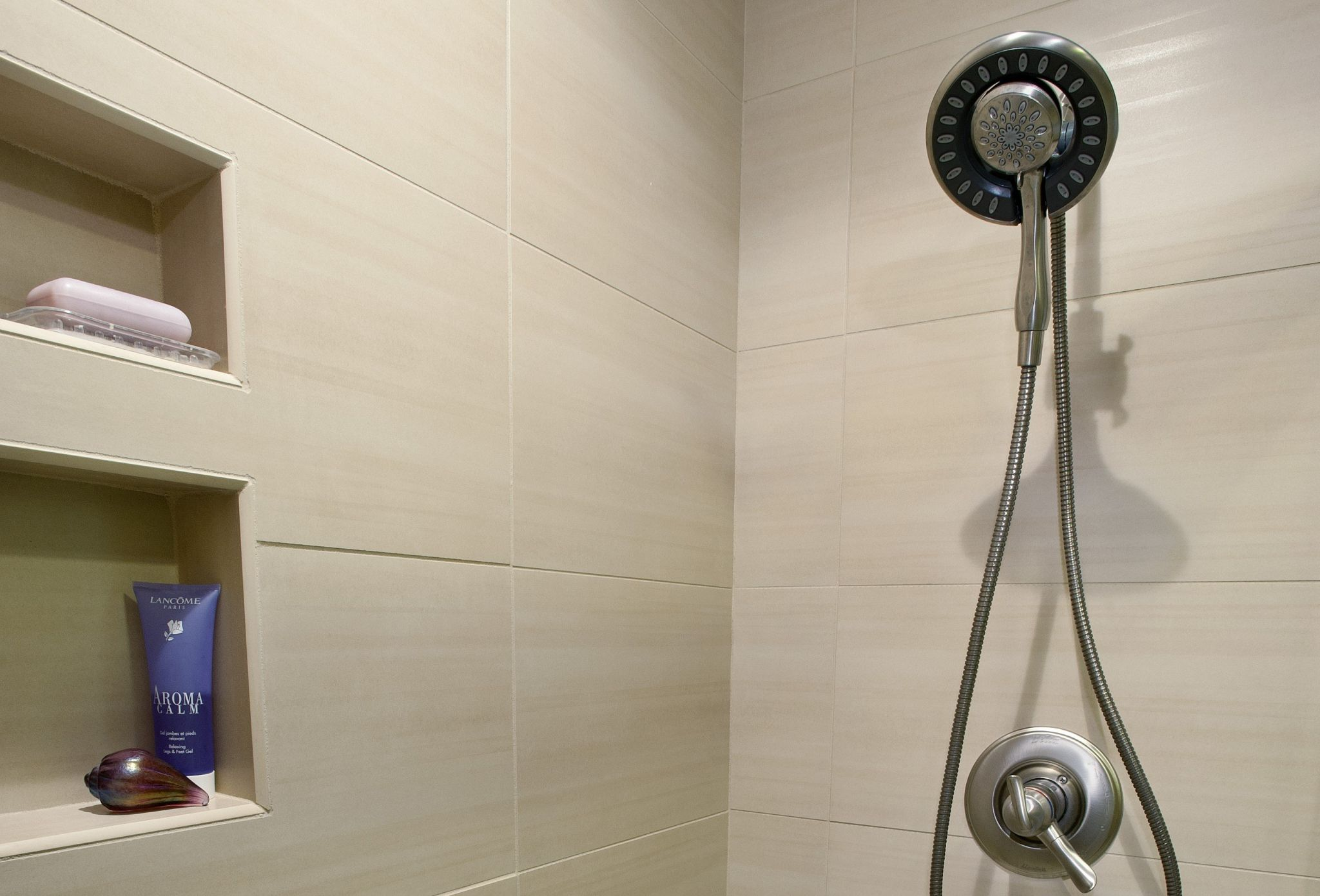Shower with a brushed nickel, removable shower head