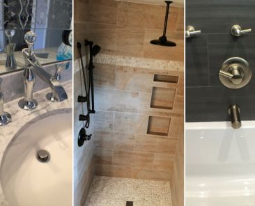 Bathroom fixtures in three different style