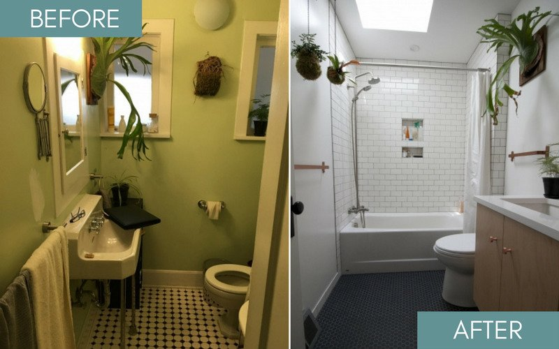 Before and after photos of small bathroom remodel