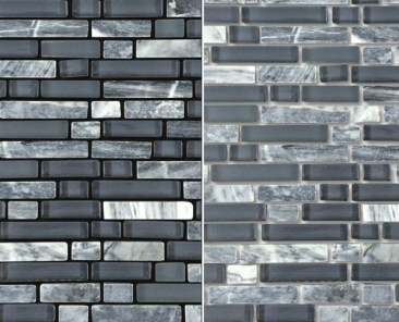 Ceramic and glass tile pattern with different colored grout