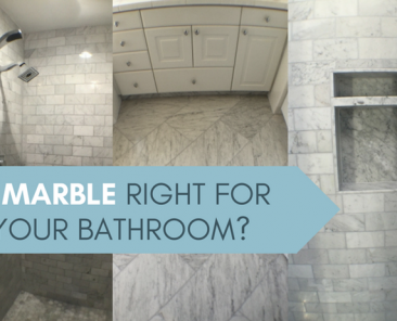 Blog title with marble tile bathroom
