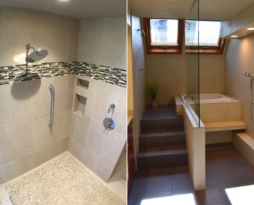 Doorless bathroom showers in two different styles