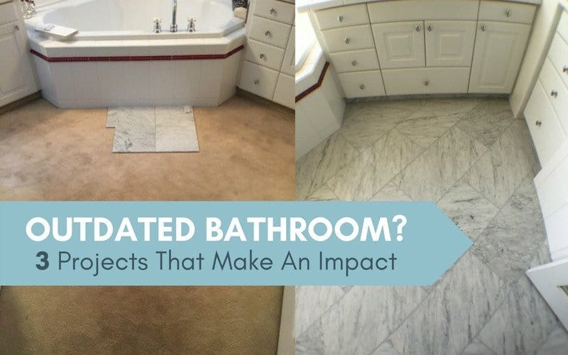 Blog title with before and after photo of remodeled bathroom