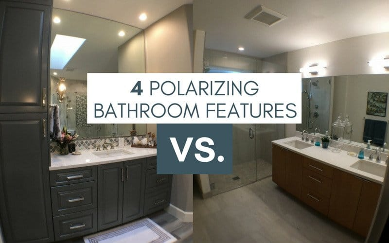 Blog title showcasing two different bathroom styles