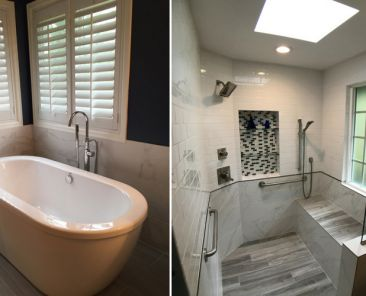 Bathtub and shower with different window covering styles