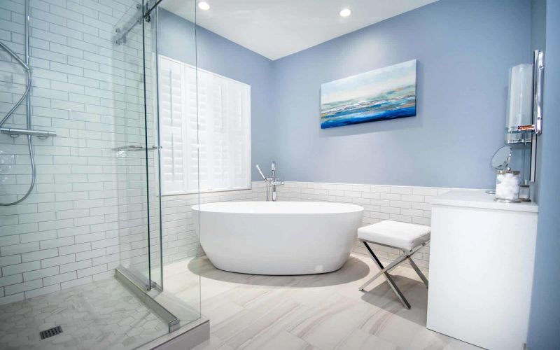 Modern Master Bath with Freestanding Bathtub & Tile Shower