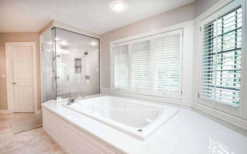 Large Tile Shower and Drop-In Tub